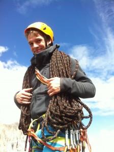 Steffen beim Alpinklettern